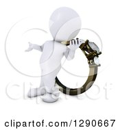 Clipart Of A 3d White Man Presenting And Standing In Front Of A Giant Engagement Ring Royalty Free Illustration by KJ Pargeter