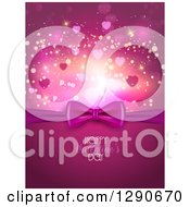 Clipart Of A Gift Bow Over Happy Valentines Day Text With Bokeh Flares And Stars Royalty Free Vector Illustration