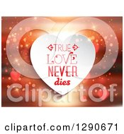 Clipart Of A True Love Never Dies White Heart Over A Blurred Sunset With Hearts And Sparkles Royalty Free Vector Illustration