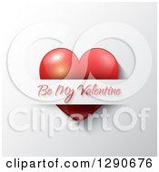 Red Heart Inserted Into A Slot With Be My Valentine Text Over A White Shaded Background