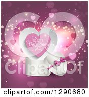 3d White Heart Shaped Gift Box With Happy Valentines Day Text Over Purple With Hearts And Sparkles