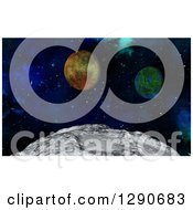 Clipart Of A 3d Closeup Of The Moons Surface And Fictional Planets Royalty Free Illustration