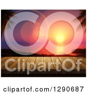 Clipart Of A 3d Close Up Of A Wooden Table Or Deck With A View Of Flares And A Tropical Ocean Sunset Royalty Free Illustration