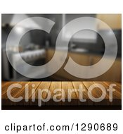 Clipart Of A 3d Close Up Of A Wooden Table Or Counter Over A Blurred Modern Kitchen Royalty Free Illustration