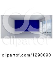 Clipart Of A 3d Empty Room Interior With Floor To Ceiling Windows And A Navy Blue Feature Wall Royalty Free Illustration