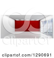 Clipart Of A 3d Empty Room Interior With Floor To Ceiling Windows And A Red Feature Wall Royalty Free Illustration