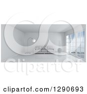 Clipart Of A 3d White Room Interior With Floor To Ceiling Windows And Furniture Royalty Free Illustration