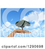 Clipart Of A 3d Female Hand Holding A Tree Over A Blue Sky With Clouds Royalty Free Illustration