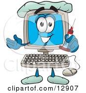 Desktop Computer Mascot Cartoon Character Holding A Syringe