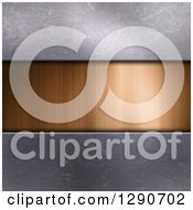 Clipart Of A 3d Gold Brushed Metal Plaque And Concrete Royalty Free Illustration