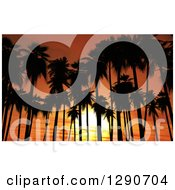 Clipart Of 3d Silhouetted Tropical Palm Trees Against An Orange Ocean Sunset Royalty Free Illustration