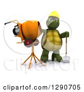 Clipart Of A 3d Tortoise Construction Worker Standing By A Cement Mixer Royalty Free Illustration