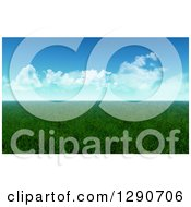Clipart Of A 3d Flat Grassy Meadow On A Sunny Day Royalty Free Illustration