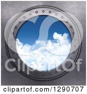 Clipart Of A 3d Round Metal Port Hole Window With A View Of The Blue Sky Royalty Free Illustration