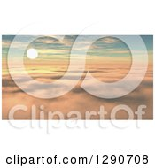 Clipart Of A 3d Sunset Sky As Seen Above The Clouds Royalty Free Illustration