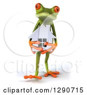 Clipart Of A 3d Green Springer Frog Walking And Holding A Silver House Royalty Free Illustration