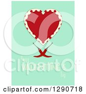 Love Heart Over Polka Dots Red Hot Chili Peppers On Turquoise With Happy Valentines Day Text
