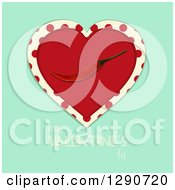 Red Love Heart With A Red Hot Chili Pepper Over Polka Dots And Turquoise With Happy Valentines Day Text