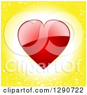 Shiny Red Valentine Love Heart Over A Glowing Starry Yellow Background