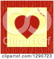 Red Doily Valentine Love Heart With A Patterned Bunting On Yellow Paper Over A Pattern