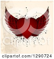 Clipart Of A Red Winged Valentine Love Heart Over Grungy Beige Background With Halftone And Grunge Splatters Royalty Free Vector Illustration