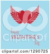 Retro Red Winged Love Heart Over Happy Valentines Day Text On Blue
