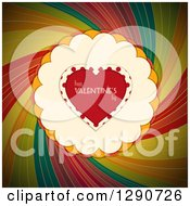 Red Love Heart With Happy Valentines Day Text Polka Dots Scallops Over A Dark Rainbow Swirl