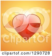 Clipart Of A 3d Reflective Red Valentine Love Heart With Floating Cubes Flares And Pyramids Over Orange Royalty Free Vector Illustration by elaineitalia