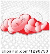 Clipart Of 3d Floating Reflective Red Valentine Hearts With LOVE Text Over A Gray And White Grid Background Royalty Free Vector Illustration