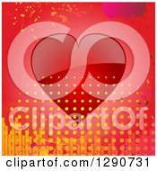 Clipart Of A Reflective Red Valentine Love Heart With Grunge Splatters Equalizer Bars And Halftone Dots Royalty Free Vector Illustration