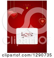 Clipart Of A Valentines Day Background Of Suspended Heart Pendants On Red With A Love Box Royalty Free Vector Illustration