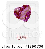 Clipart Of A Valentines Day Background Of A Purple And Red Floral Heart Over Love Text On A Piece Of Scalloped Paper Royalty Free Vector Illustration