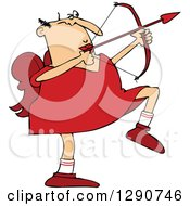 Clipart Of A Chubby Caucasian Cupid Aiming An Arrow Royalty Free Vector Illustration