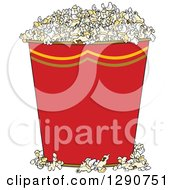 Clipart Of A Red Bucket Of Popcorn Royalty Free Vector Illustration by Dennis Cox
