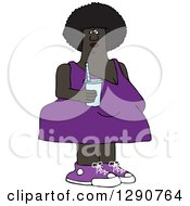 Chubby Black Woman In A Purple Dress Holding A Fountain Soda