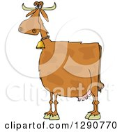 Clipart Of A Spotted Brown Cow Wearing A Bell Royalty Free Vector Illustration