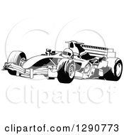 Clipart Of A Black And White Race Car And Driver Facing Left 2 Royalty Free Vector Illustration
