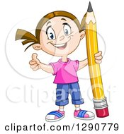 Clipart Of A Happy Brunette Caucasian School Girl Holding A Thumb Up And A Giant Pencil Royalty Free Vector Illustration