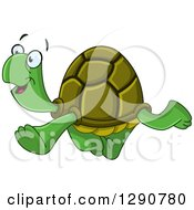 Clipart Of A Happy Tortoise Walking To The Left Royalty Free Vector Illustration by yayayoyo
