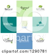 Clipart Of Flat Design Natural And Organic Business Logo Icons With Text On Colorful Tiles 2 Royalty Free Vector Illustration