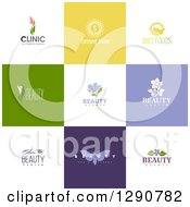 Clipart Of Flat Design Beauty Business Logo Icons With Text On Colorful Tiles 4 Royalty Free Vector Illustration by elena