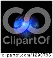 Clipart Of A 3d Blue Fractal Sphere On Black Royalty Free Illustration