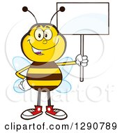 Clipart Of A Happy Honey Bee Holding Up A Blank Sign Royalty Free Vector Illustration by Hit Toon
