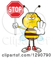 Clipart Of A Stern Honey Bee Gesturing And Holding A Stop Sign Royalty Free Vector Illustration by Hit Toon