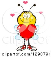 Clipart Of A Happy Honey Bee Holding A Valentine Love Heart Royalty Free Vector Illustration by Hit Toon
