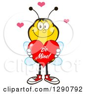 Clipart Of A Happy Honey Bee Holding A Be Mine Valentine Love Heart Royalty Free Vector Illustration by Hit Toon