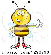 Clipart Of A Happy Honey Bee Giving A Thumb Up Royalty Free Vector Illustration