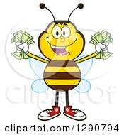 Clipart Of A Happy Honey Bee Holding Handfuls Of Cash Royalty Free Vector Illustration