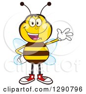 Clipart Of A Happy Honey Bee Waving Royalty Free Vector Illustration by Hit Toon
