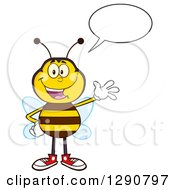 Clipart Of A Happy Talking Honey Bee Waving Royalty Free Vector Illustration by Hit Toon